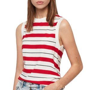 All Saints Red White Striped Imogen Tank Top Shirt